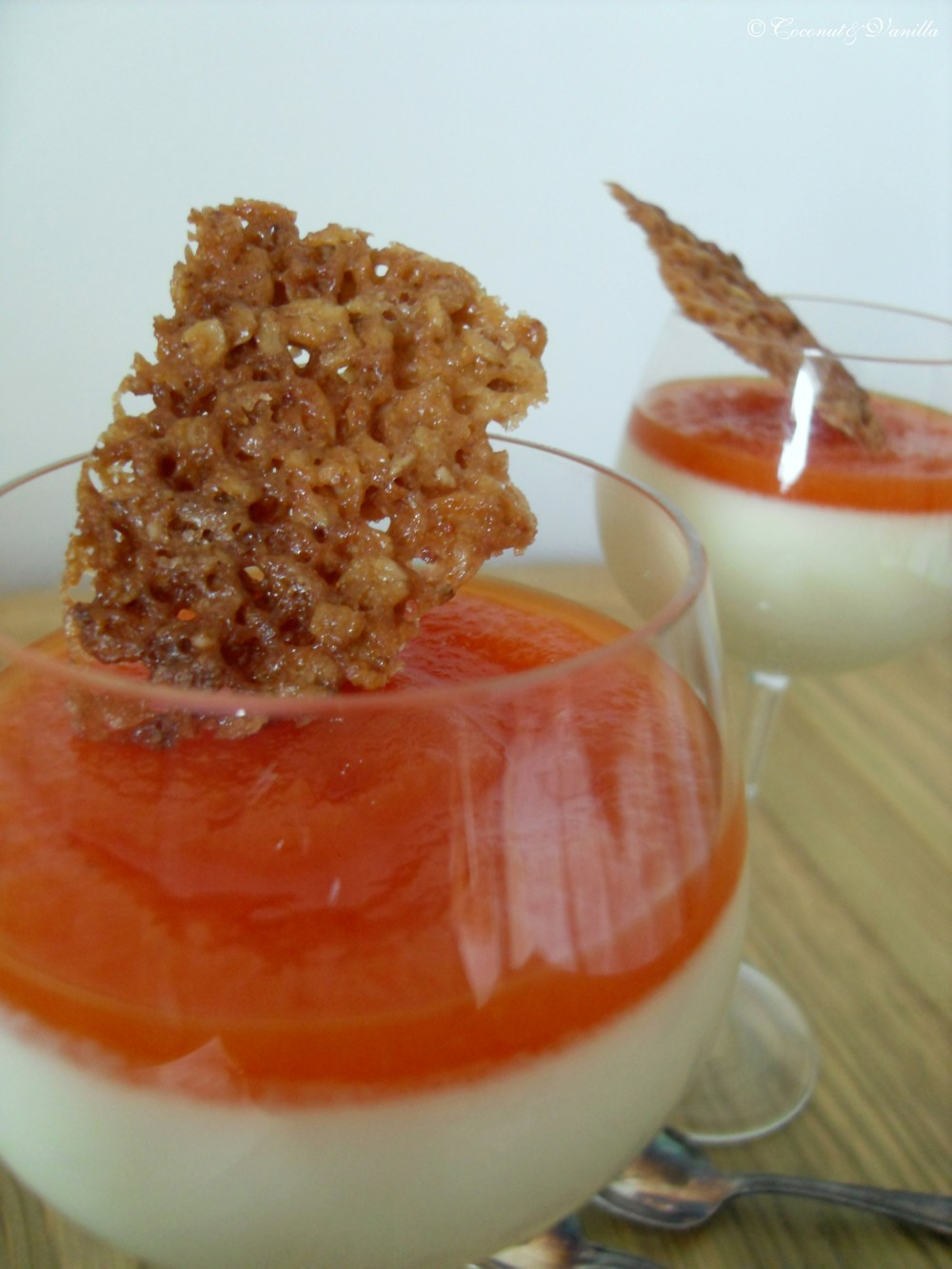 Panna Cotta with Papaya & Oat Florentines