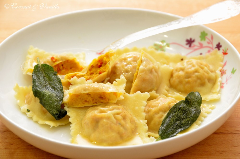 Squash ravioli with sage butter