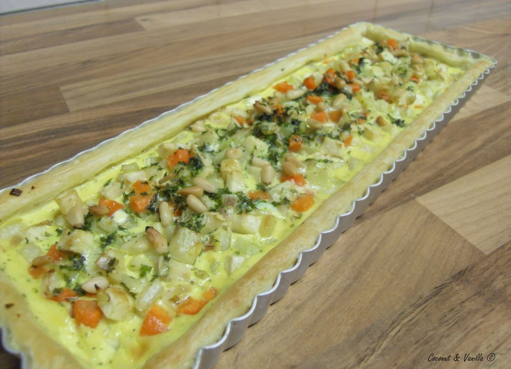 puff pastry tart with root vegetables