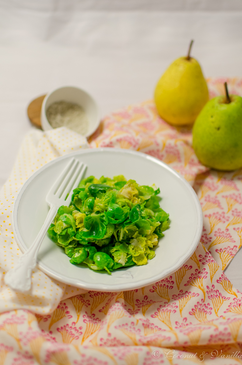 Brussel Sprout Salad with Pear and Cinnamon