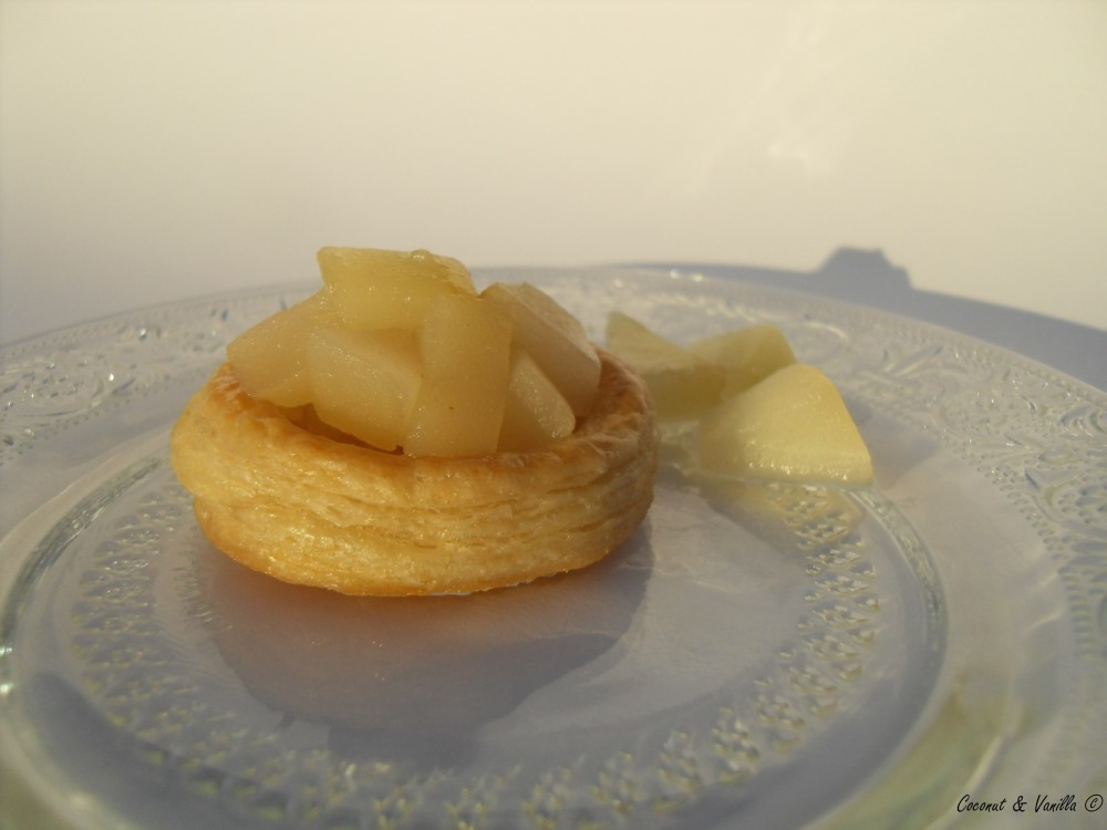 vol au vents with pear compote
