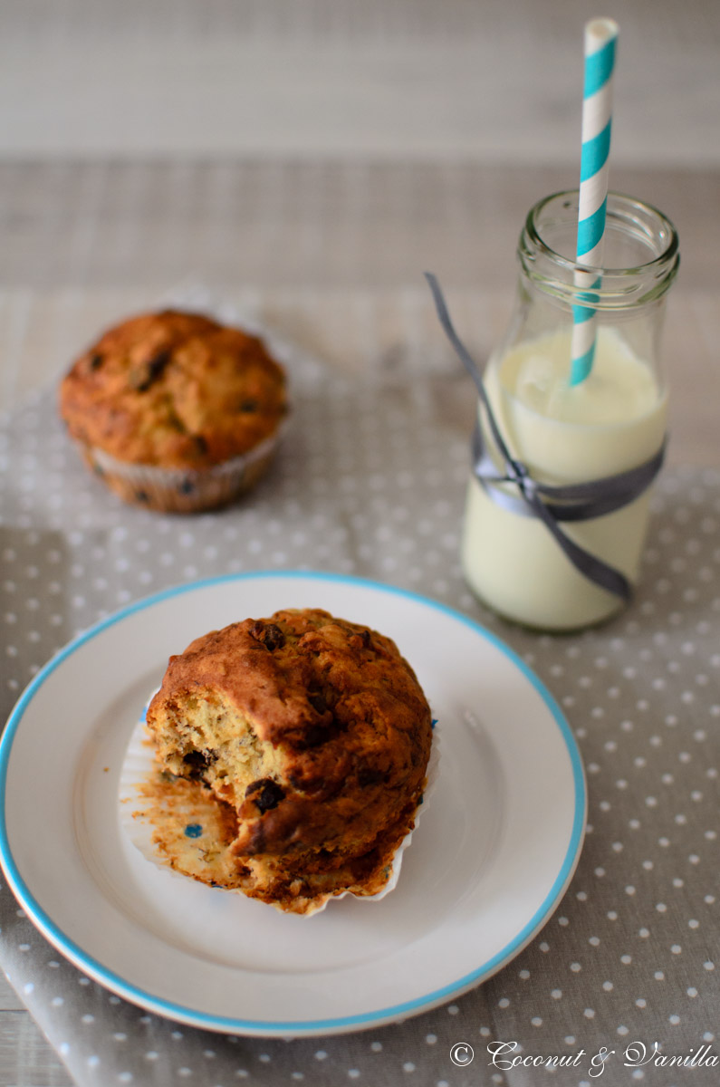 Banana, chocolate and hazelnut muffins