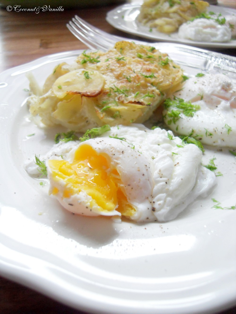 Potato-Fennel-Gratin with Poached Eggs