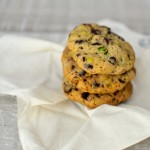 Pistachio and Dark Chocolate Chip Cookies with Smoked Sea Salt