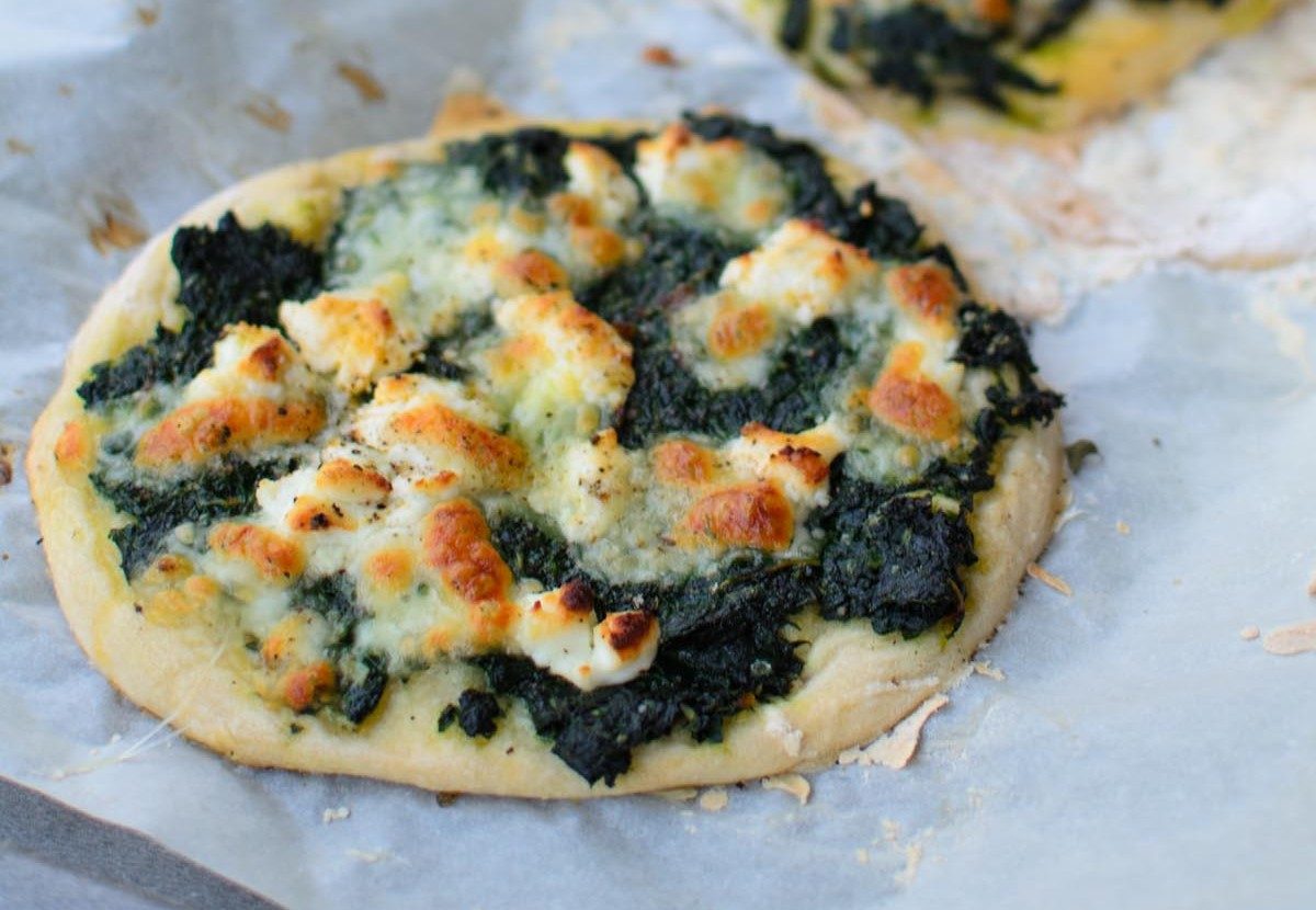 Pizza Bianca with Swiss Chard and Goats Cheese