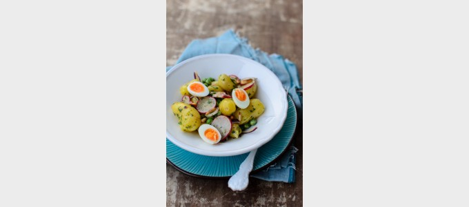 Cooking through la Tartine Gourmande:  Fingerling potato salad with peas, radishes and quail eggs
