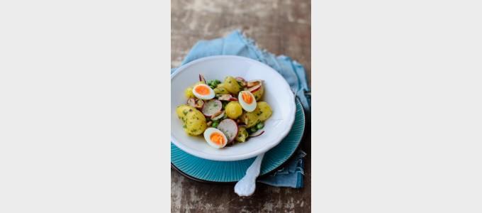 Cooking through la Tartine Gourmande:  Fingerling potato salad with peas, radishes and quail eggs