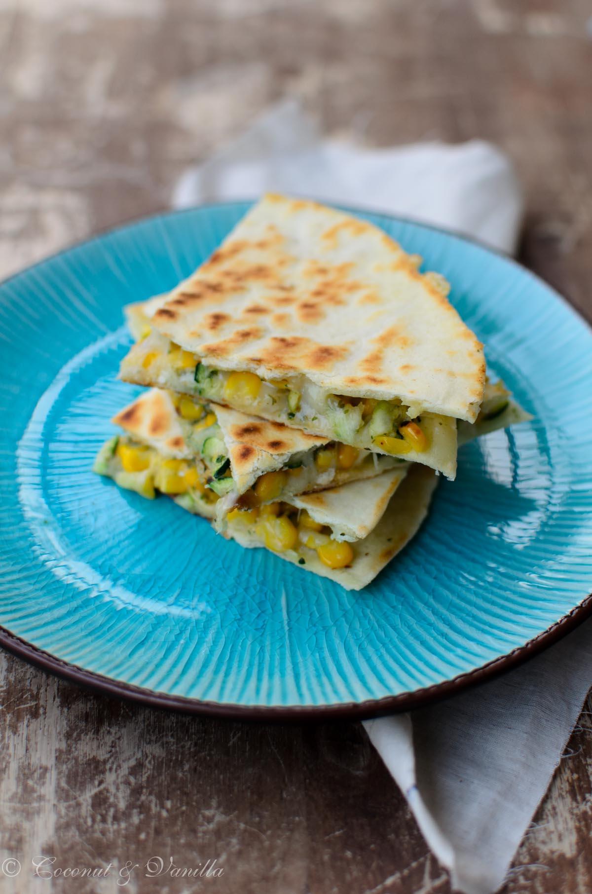 Quesadillas with Zucchini and fresh Corn